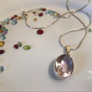 🎀BOGO🎀 Lab Created Pink Kunzite necklace silver